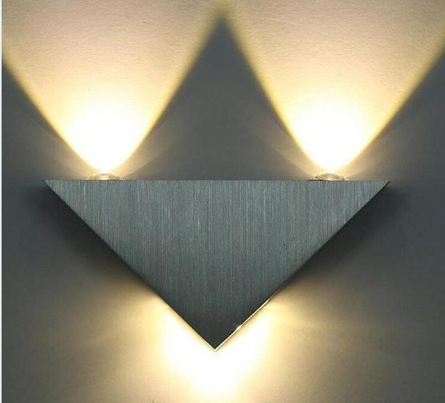 $23.52- Modern Led Wall Lamp 3W Aluminum Body Triangle Wall Light For Bedroom Home Lighting Luminaire Bathroom Light Fixture Wall Sconce