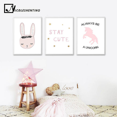 $7.54- Cute Pink Unicorn Rabbit Poster Nursery Wall Art Canvas Print Minimalist Nordic Painting Picture Children Living Room Decoration