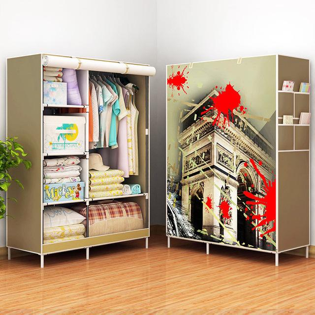 $89.73- New Fashion Modern Wardrobe Nonwoven Fabric frame reinforcement DIY Assembly Storage Organizer Detachable Clothing furniture