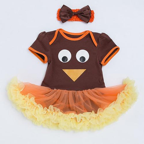 $28.78- Yk&Loving Newborn Thanksgiving Outfits Baby Girl Clothes Orange Cute Turkey Tutu Dress 2Pcs Turkey Infant Toddler Clothing Set