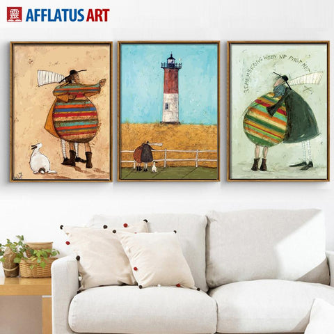 $7.51- Afflatus Figure Lighthouse Landscape Canvas Painting Nordic Poster Wall Art Canvas Prints Wall Pictures Living Room Home Decor