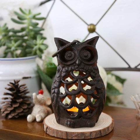 $32.83- Wedding Decoration Metal Candle Holder Candlestick Antique Iron Owl Figurines Home Room Decorative