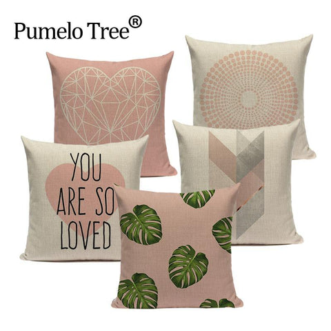 $7.57- Pink Geometric Nordic Cushion Cover Tropic Palm Leaf Throw Pillow Cover Linen Cushion Case Sofa Bed Decorative Heart Pillowcase