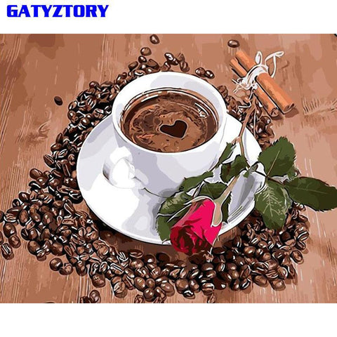 $12.41- Gatyztory Coffee Rose Diy Oil Painting By Numbers Modern Wall Art Canvas Painting Acrylic Hand Painted For Wedding Decor 40X50Cm
