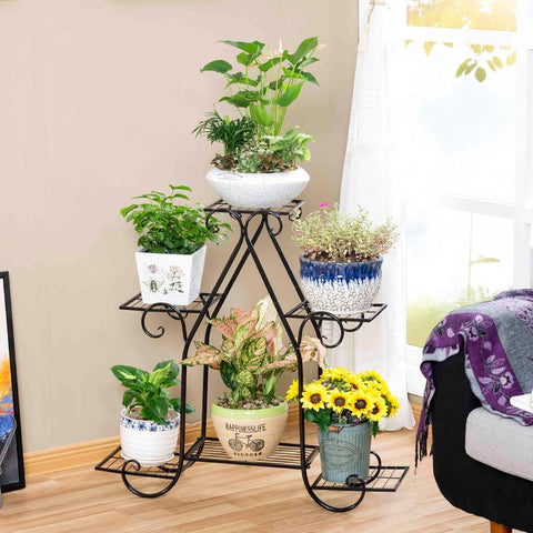 $106.05- European Style Garden Indoor Iron Modern Plants Balcony Outdoor Green Flower Shelf Shelves Decoration Flowerpot Rack