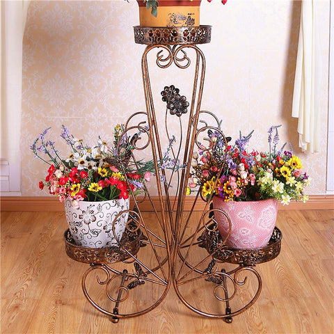$99.57- Metal European Style Balcony Plants Iron Outdoor Garden Living Room Indoor Shelves Green Flower Shelf Decoration Flowerpot Rack