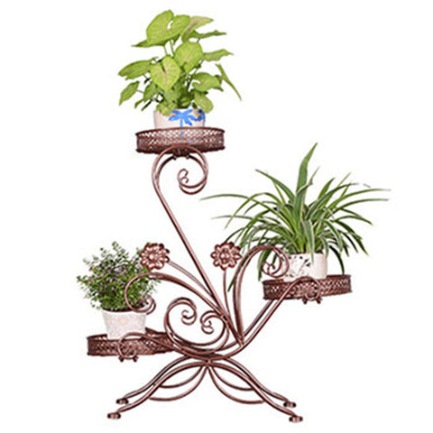 $109.53- Balcony Living Room Metal European Style Multifunctional Modern Plants Flowerpot Rack Shelves Green Flower Shelf Decoration