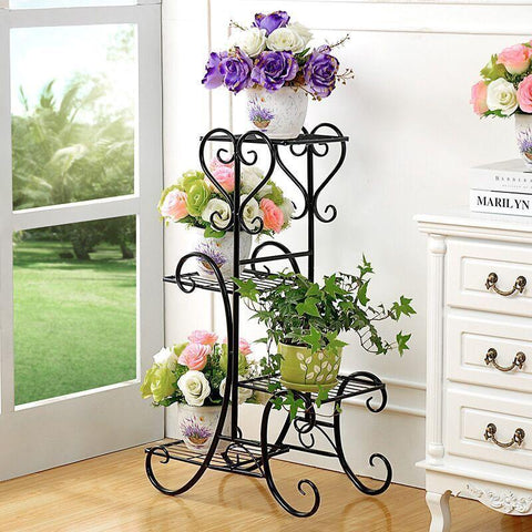 Plants Balcony Metal Indoor Outdoor European Style Multifunctional Modern Shelves Flowerpot Rack Green Flower Shelf Decoration
