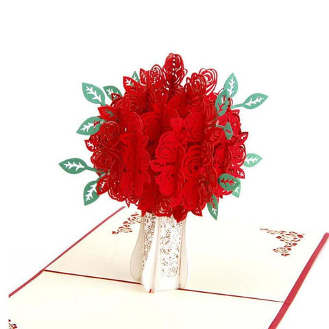 $4.31- New Creative 3D Rose Pop Up Card Greeting Card Postcard Gift For Teachers'S Day Thanksgiving Day Father'S Day Valentine'S Day
