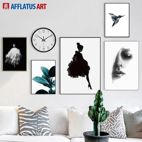 $10.07- Afflatus Girl Bird Leaves Nordic Poster Canvas Painting Wall Art Print Figure Painting Wall Pictures For Living Room Home Decor