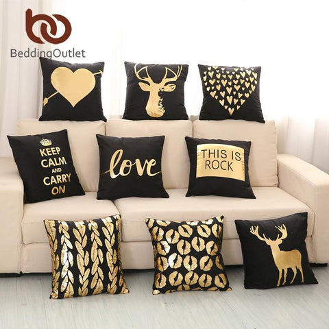 $7.11- Beddingoutlet Bronzing Cushion Cover Gold Printed Black White Pillow Cover Decorative Pillow Case Sofa Golden Pillowcases