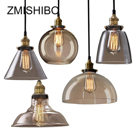 $36.56- Zmishibo Vintage Glass Pendant Lamp 110240V E27 Ceiling Clear Amber Glass Lights Nordic Hanging Lamp Kitchen Fixture Luminaire