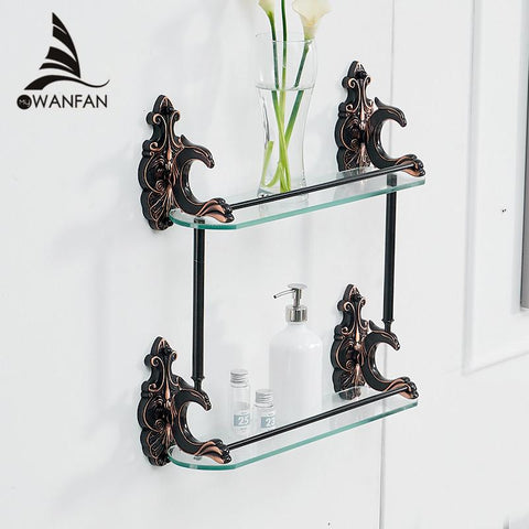 Bathroom Shelves Brass Shelves For Bathroom Tempered Glass Shelf Towel Rack Shower Wall Shelf Bathroom Accessories Wf88815