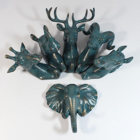 4Pcs/Set Hanging Pendant Hook Retro Simulation Animal Resin Coat Rack Storage WallMounted Room Furniture