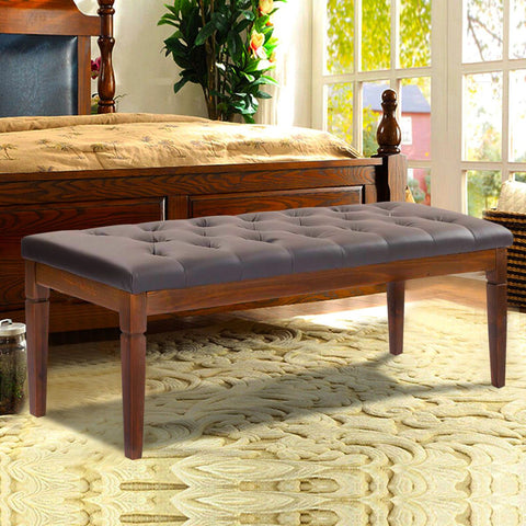 $118.98- Giantex 48 Upholstered Bed Bench Pu Leather Wood Ottoman Seat Modern Living Room Furniture Sofa Chairs Hw52780Gr
