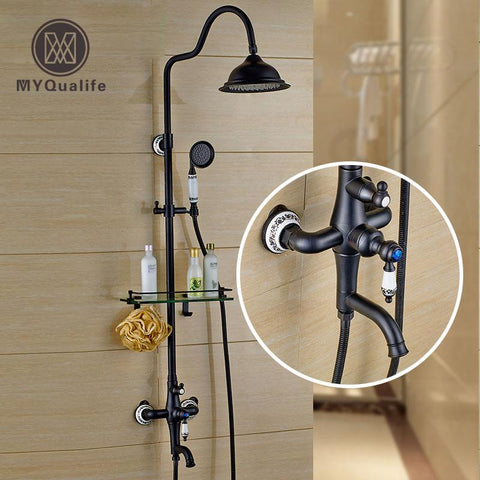 $219.78- Modern 8 Rainfall Bath Shower Faucet Wall Mounted Rotate Tub Spout Shower Mixer Tap Black Bronze Glass Shelf Ceramic Handshower