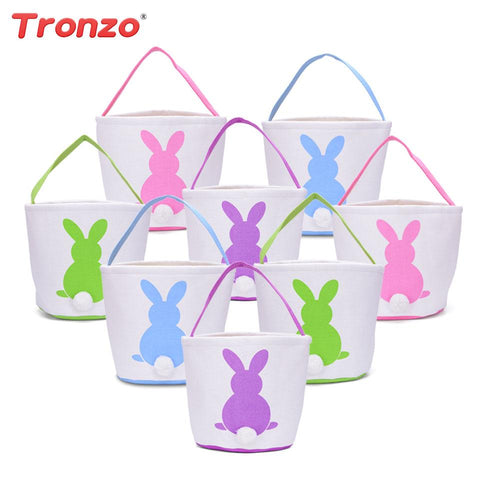 Tronzo Linen Easter Bunny Ears Basket Bag 8Pcs/Lot Mix Color Cartoon Rabbit Paking Bags Wedding Favors Gifts Easter Decoration