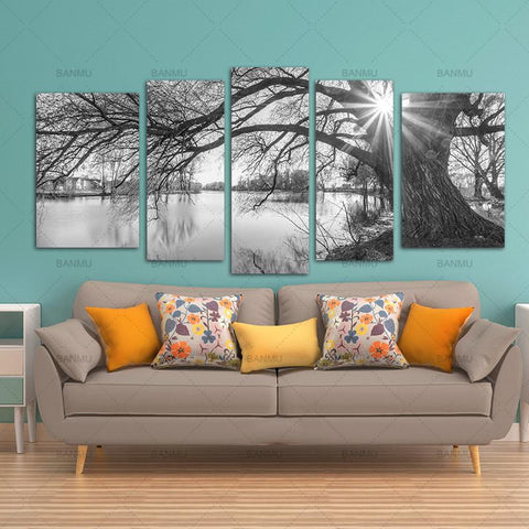 $22.37- Banmu 5 Pieces Modern Canvas Painting Wall Art Tree Sunrise Time Lake Landscape Print On Canvas Giclee Artwork For Wall Decor