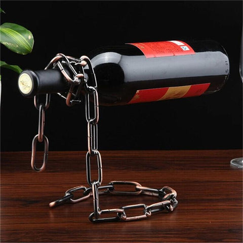 $13.02- Bar Tools Portable WineRack Creative Magic Rope Wine Bottle Holder Chain Metal Single Hanging Wine Rack