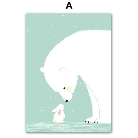 Colorfulboy Polar Bear Rabbit Canvas Painting Minimalism Wall Art Print Nordic Poster Wall Pictures For Kids Room Decor