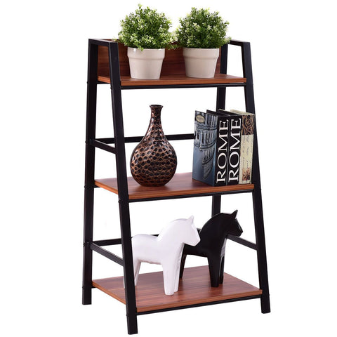$84.58- Giantex 3 Tier Ladder Display Shlf Living Room Storage Bookshelf Wooden Wall Bookcase Modern Floor Decor Furniture Hw55403