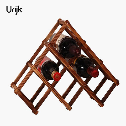 $13.79- Urijk Wooden Red Wine Holder Rack 3/6/10 Bottle Wine Rack Mount Kitchen Glass Bottle Holder Storage Organizer Holders