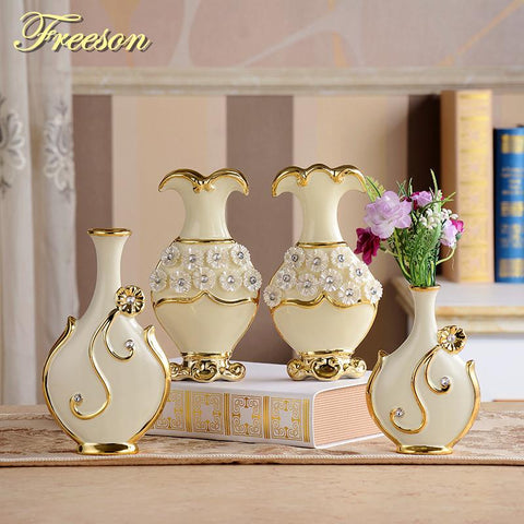 $9.48- Europe Handpainted Gold Plated Porcelain Vase Modern Advanced Ceramic Flower Vase Room Study Hallway Home Wedding Decoration
