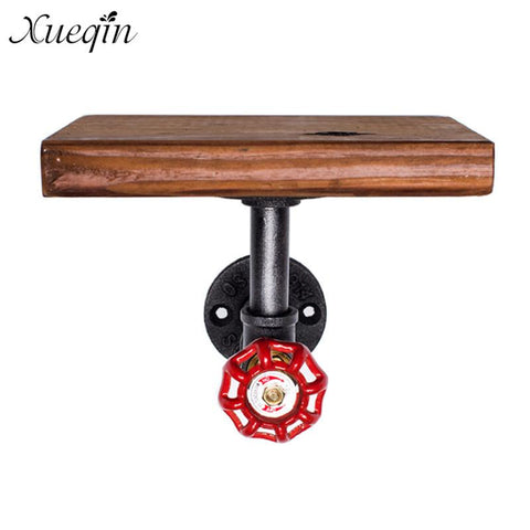 Xueqin Bathroom Shelves Industrial Retro Iron Pipe Shelf Rack Wall Mounted Wood Storage Display Shelf Single Tier Holder