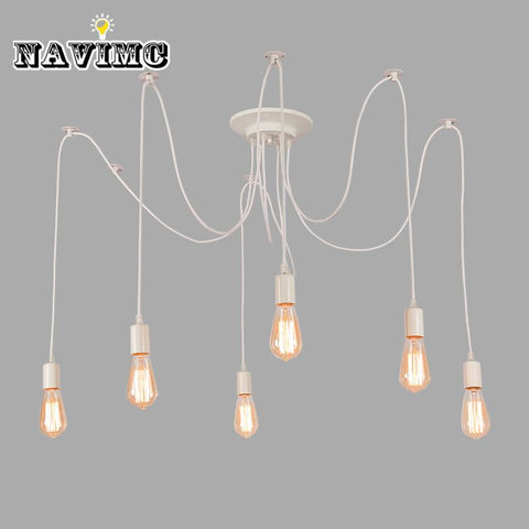 $36.27- Modern Nordic Retro Edison Bulb Light Chandelier Vintage Loft Antique Adjustable Diy E27 Art Spider Pendant Lamp Home Lighting