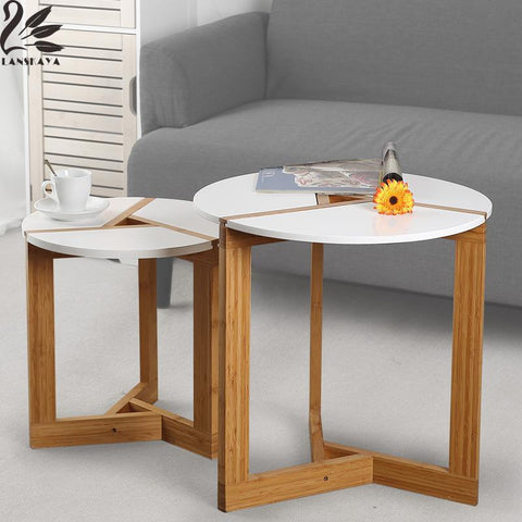 Lanskaya Modern Bamboo Side Living Room Sofa Tea Home Wooden Coffee Table Furniture Bedroom