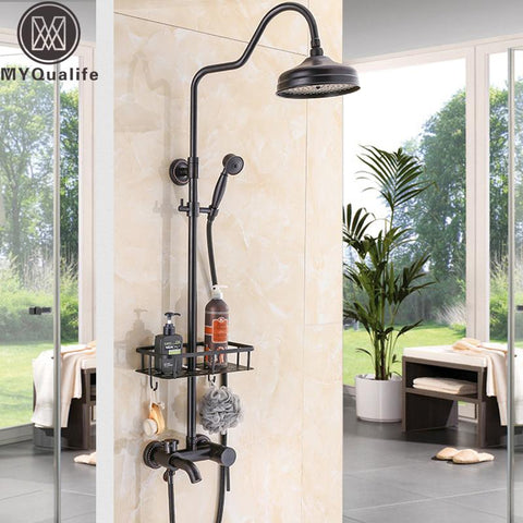 $244.80- Wall Mount Black Rainfall Bath Shower Set Faucet One Handle Bathroom Shower Mixers Brass Commodity Shelf Basket Rain Shower Kit