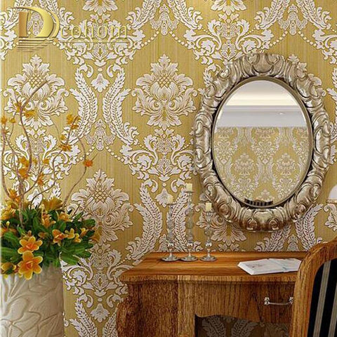 $43.09- European Embossed Damask Wallpaper 3D Stereoscopic Design Living Room Sofa Tv Walls Decor Luxury Homes Wall Paper Rolls