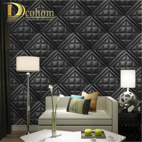 $64.62- Modern Luxury Faux Leather Soft Bag 3D Wallpaper For Walls Embossed Vinyl Wall Paper Rolls For Living Room Sofa Tv Background