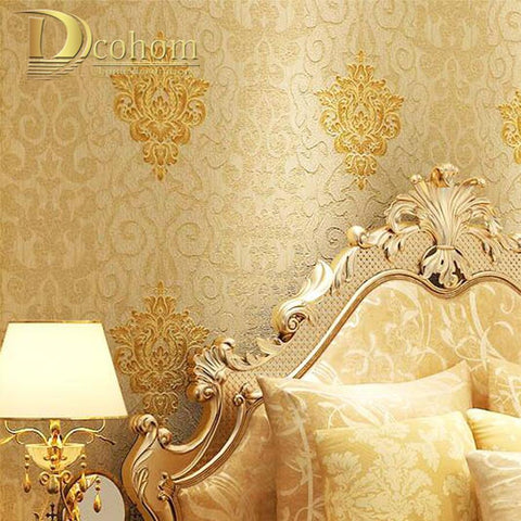 $38.00- Vintage Classic European Luxury Beige Red Damask Wallpaper For Walls 3 D Wall Paper For Bedroom Living Room Home Decor Mural