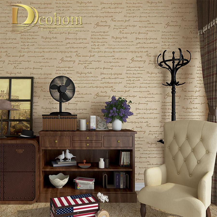 Buy Simple Modern Vintage American Letters Wallpaper For Walls Study