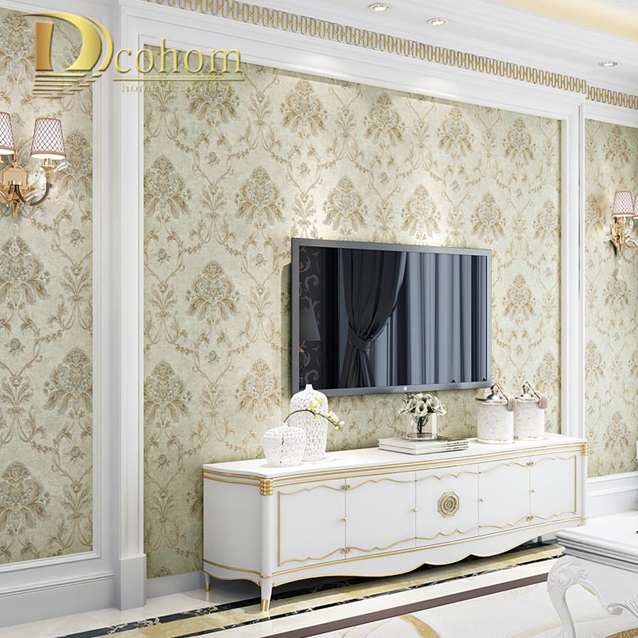 Buy European Simple Vintage Luxury 3D Damask Wallpaper For Walls ...