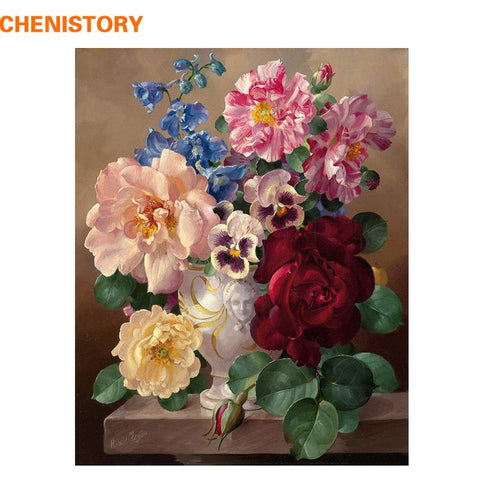 $12.48- Chenistory Flowers Diy Painting By Numbers Acrylic Painting Calligraphy Modern Wall Art Canvas Painting For Home Decor Artwork
