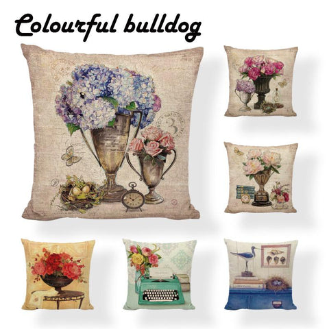 $6.82- Modern Lavender Reading Book Toss Pillow Coastal Vintage Oil Painting Lily Cushions Bench 45X45Cm Cotton Linen Decor Kussenhoes