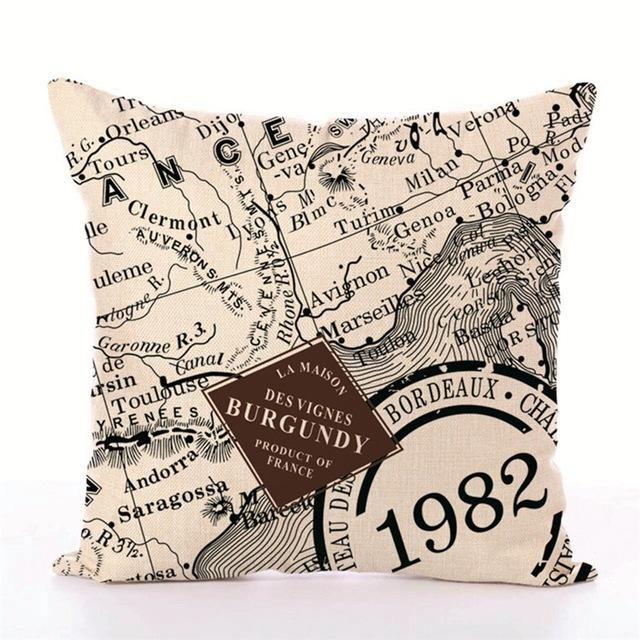 Map Series Style Printed Pillow Cover & Cushion Home Decorative Throw Pillowcase Bedroom Car Back Rest Lazyback