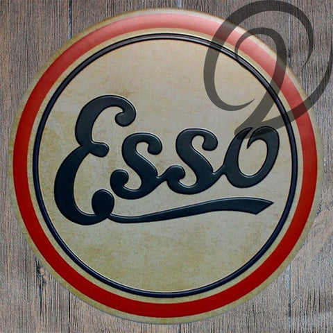 $18.91- Esso Round Tin Plates Rustic Wall Decor For Bar Pub Home Tin Plaques Shabby Chic Metal Signs Vintage Metal Plates Wall Poster