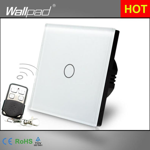 $28.28- Eu Uk Dimmer Remote 110V250V Wallpad White Glass Touch Rf433 1 Gang Dimmer For Led Wireless Remote Wall Switch