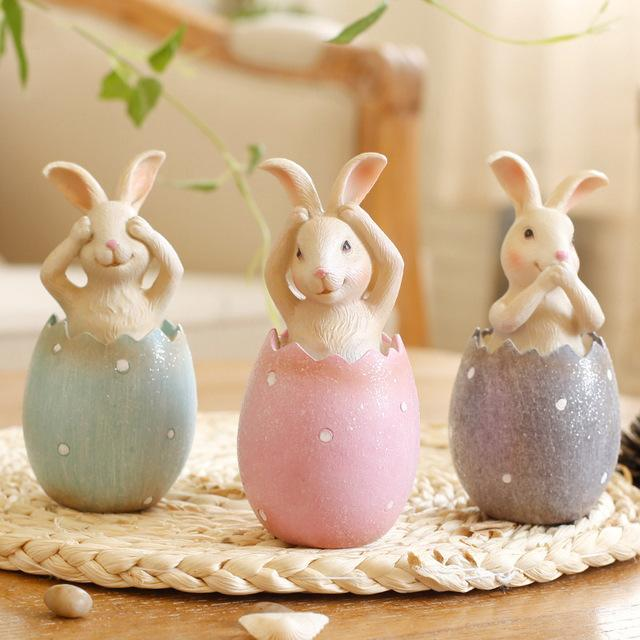$59.22- 3Pcs Rabbits In Egg Resin Doll Easter No See No Listen No Say Rabbits Ornament Easter Decoration For Home Gift For Children
