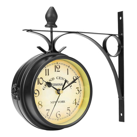 $35.77- Charminer Double Sided Round Wall Mount Station Clock Garden Vintage Retro Home Decor Metal Frame Glass Dial Top Quality
