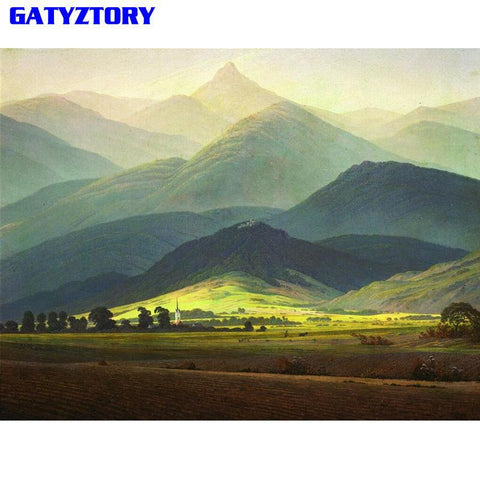 $14.92- Gatyztory Mountain Diy Painting By Numbers Kit Landscape Modern Wall Art Picture Handpainted Oil Painting For Home Decor Artwork