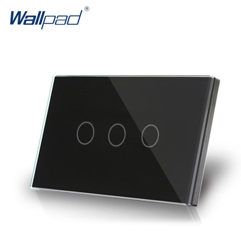 $49.39- 3 Gang 2 Way Us/Au Standard Wallpad Smart Touch Switch Touch Screen Panel Black Crystal Glass 3 Gang On/Off Lighting Swith