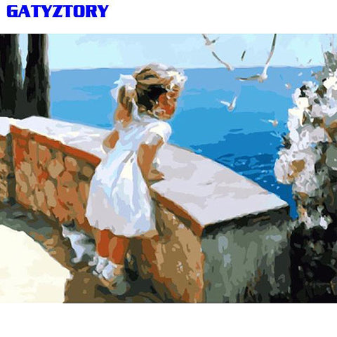 $12.83- GATYZTORY Little Girl DIY Painting By Numbers Figure Painting Wall Art Picture Paint By Numbers Canvas Painting For Home Decor