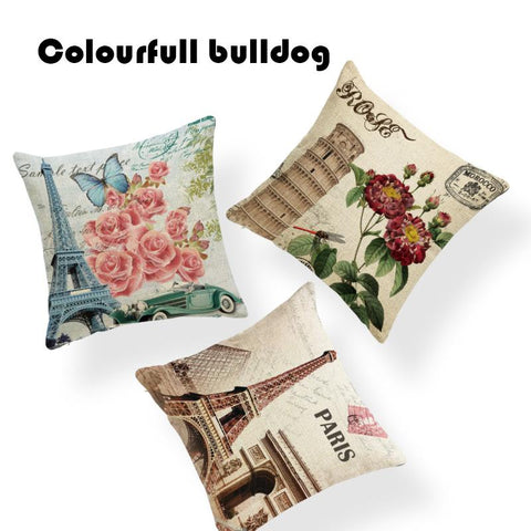 $6.82- Print Vintage Shabby Chic New York Paris London Cushion Cover Green Leaves Red Roses Butterfly Backyard Linen Home Decor Pillow
