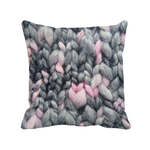 $8.49- Pink Grey Woolen Yarn Printed Shabby Chic Cushion Cover Home Sofa Decor Decorative Vintage Throw Pillow Case