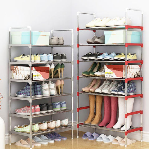 $23.74- Multi Layer Shoe Rack with handrail Galvanized steel pipe shoe cabinet shoe organizer removable shoe storage for home furniture