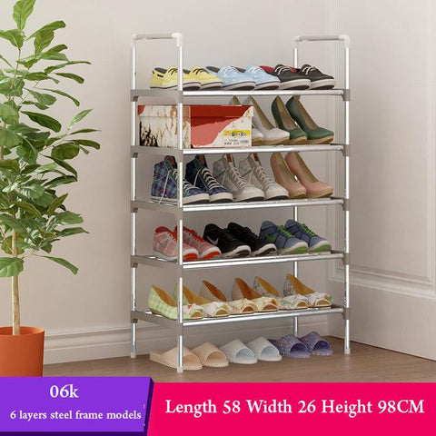 Multi Layer Shoe Rack with handrail Galvanized steel pipe shoe cabinet shoe organizer removable shoe storage for home furniture